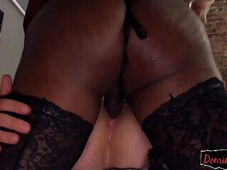 Ebony ts dominates slave during analsex