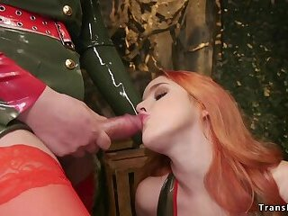 Military shemale in latex bangs redhead
