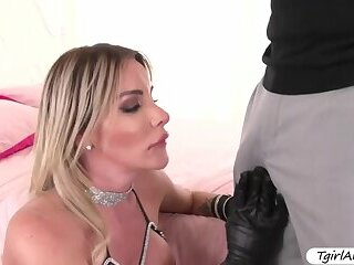 Busty Tranny Marissa Minx sucks and fucks big black cock in her ass