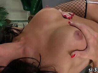 Slutty ts Jonelle Brooks licks and fucks wet pussy