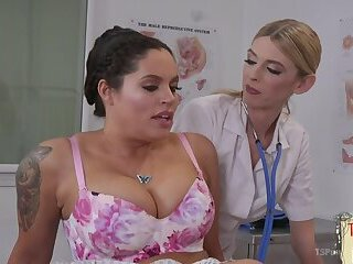 Transgender doctor drilling tight submissive