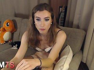 pretty tgirl in stockings amateur solo
