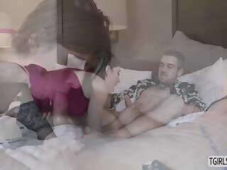 Shemale Korra Del Rio makes out with a hot dudes dick