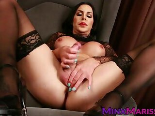 Semen demon Marissa Minx stroking big dick solo