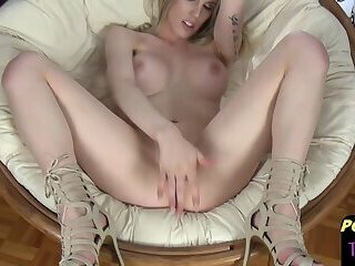 Stunning blonde post op tgirl solo