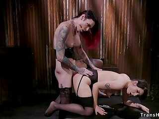 Brunette submits to alt big cock shemale