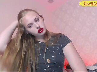 Cute Blonde Teen Tranny with Red Lipstick