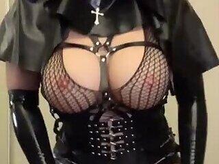 Asian rubber nun latex fetish doll strokes cock