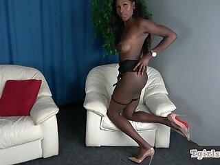 Hot amateur ebony tugging on her black cock