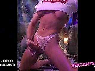 Blonde goddess TS big dick Play