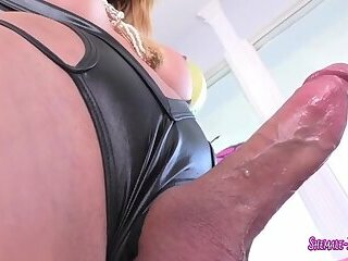 Horny shemale with big tits and ass loves to fuck
