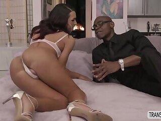 Small tits Tranny Khloe Kay super horny interracial anal
