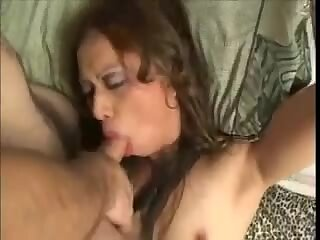 Sweet sex with cute tgirl in white