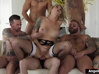 Busty cockhungry ts Aubrey Kate anal gangbanged by six guys