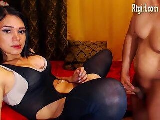 Brunette sexy shemale in black phantyhose gets her ass stuffed