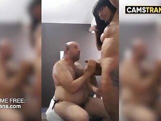 Black TS fucks lucky guy with anaconda dick