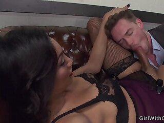 Busty beautiful shemale anal fucks boss