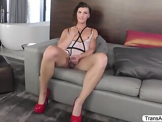 Tgirl Allysa gets banged hard by her guy with a huge cock