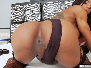 Horny shemale jerks off her hard shecock