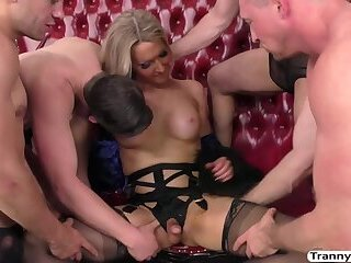 Beautiful Tranny babe Kayleigh Coxx gets fucked hard by horny dudes