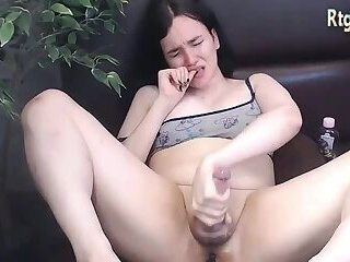 solo shemale young masturbating like crazy with orgasm
