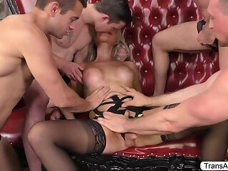 Blonde TS Kayleighs ass gets destroyed by group of men