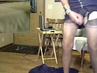 Mature Tranny Eats Her Cum After Riding Monster Dildo