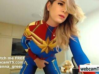 Jhenna Cums in Super Hero Costume