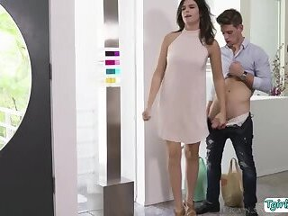 Tranny Kendall Penny gets worshipped and fucked hard in the couch