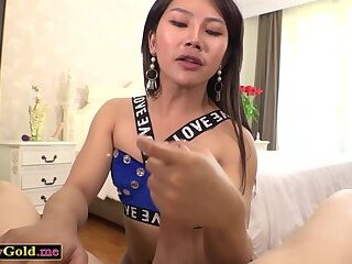 Gorgeous asian ladyboy bareback anal session with lover