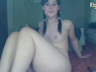 curvy shemale cutie tugging her small cock on webcam