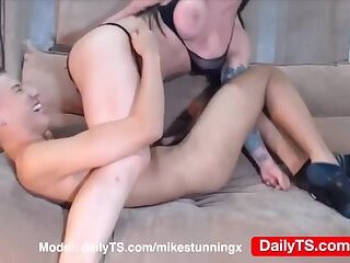 Tgirl & boyfriend masturbation blowjobs