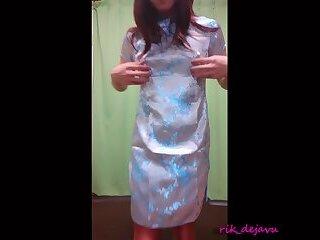 Try on Shiny Mandarin Dress
