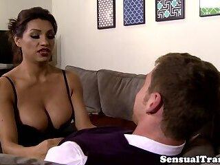 Latina trans babe takes virgin dudes cock