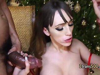Two santa clauses fuck shemale slut