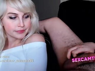 Perfect Blonde Tgirl and Guy Cock Frottage