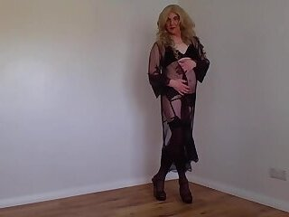 Black lingerie and stockings