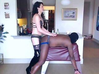 White mistress fucks the ass of a virgin black boy