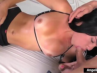 Busty latina shemale Pamela Sato is asslicked and barebacked