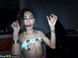 Asian shemale slut gets a fetish style bareback fucking