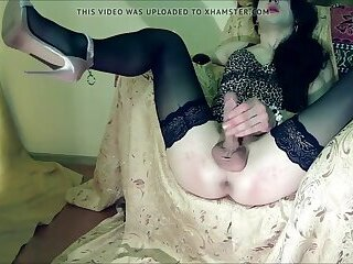 Lingeried Amateur Femboy Wanks Her Uncut Cock And Cums