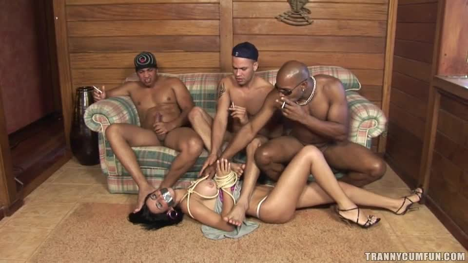Girl cums at gangbang