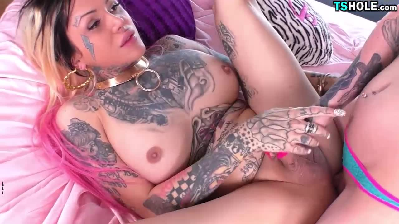 Tattooed twosome tgirls fucking and jizzing