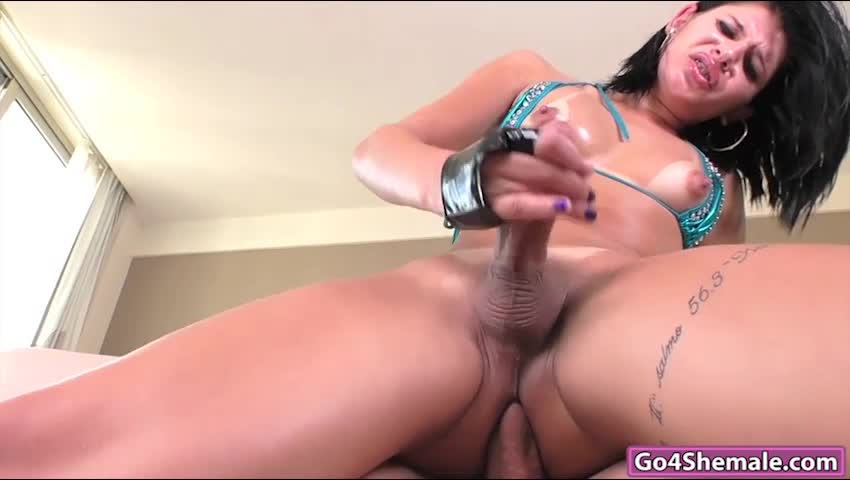 Huge tits shemale gets her anal fucked by her masseur