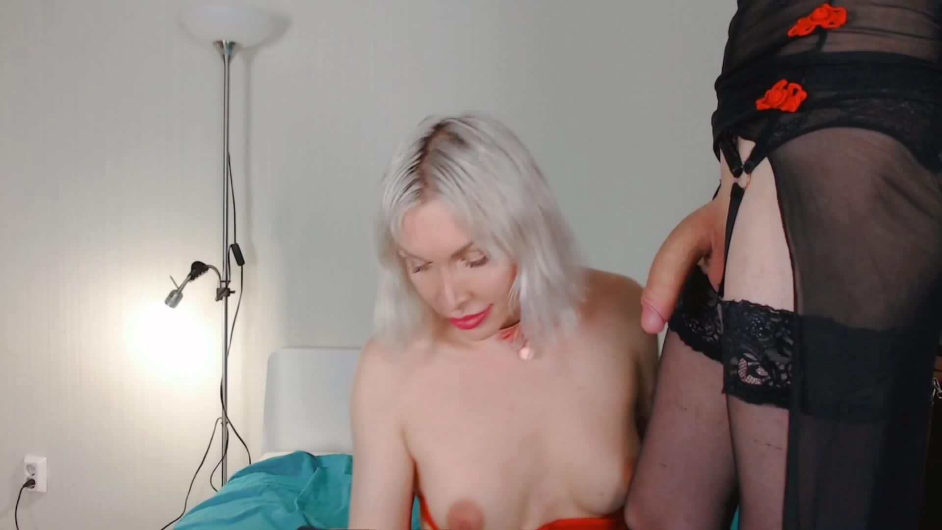 Russian shemale eva lynx jerks off her big dick in beautyful yellow lingerie